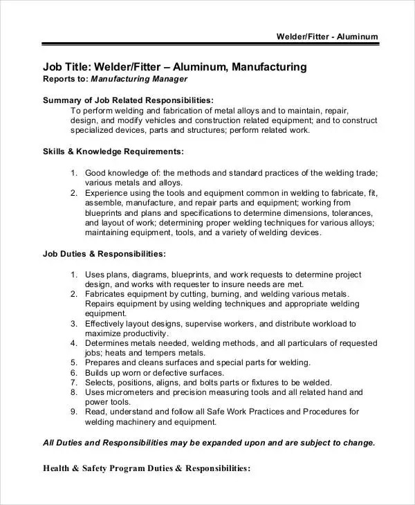 Welder Job Description - 10+ Free Word, PDF Documents Download - welder job description