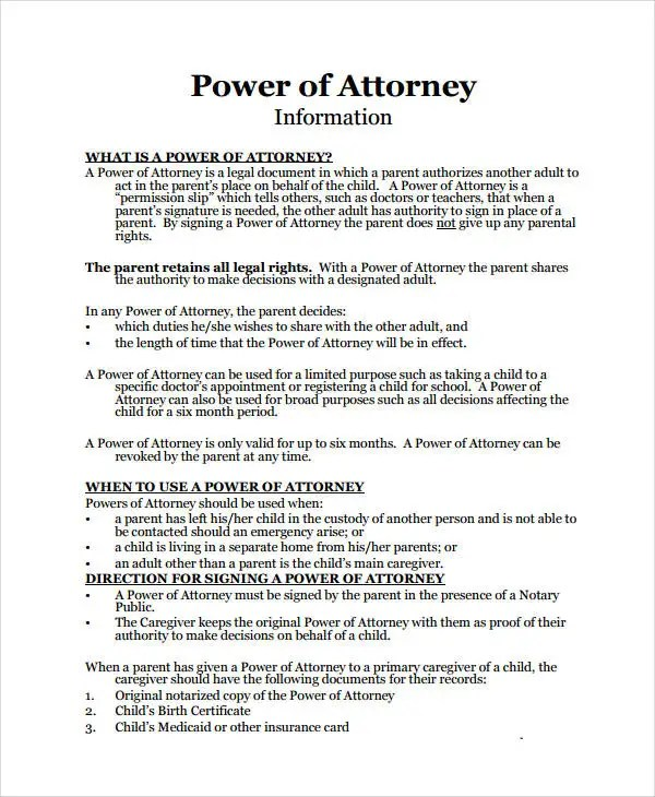 9+ Medical Power Of Attorney Forms - Free Sample, Example, Format - Medical Power Of Attorney Form