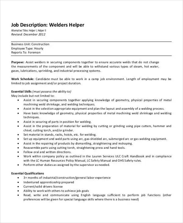 welder helper job description - Ozilalmanoof - welder job description
