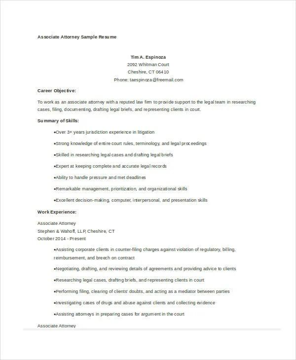 10+ Attorney Resume Templates - PDF, DOC Free  Premium Templates