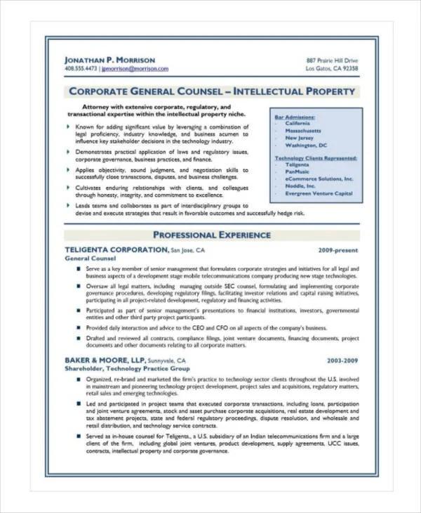 10+ Attorney Resume Templates - PDF, DOC Free  Premium Templates - general counsel resume