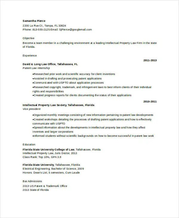 10+ Attorney Resume Templates - PDF, DOC Free  Premium Templates - patent associate sample resume