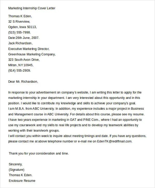 Cover Letters For Internship - 7+ Free Word, PDF Documents Download - Internship Cover Letter