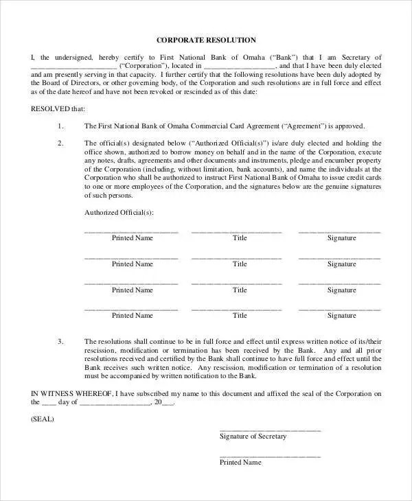 Corporate Resolution Form - 7+ Free Word, PDF Documents Download - corporate resolution form