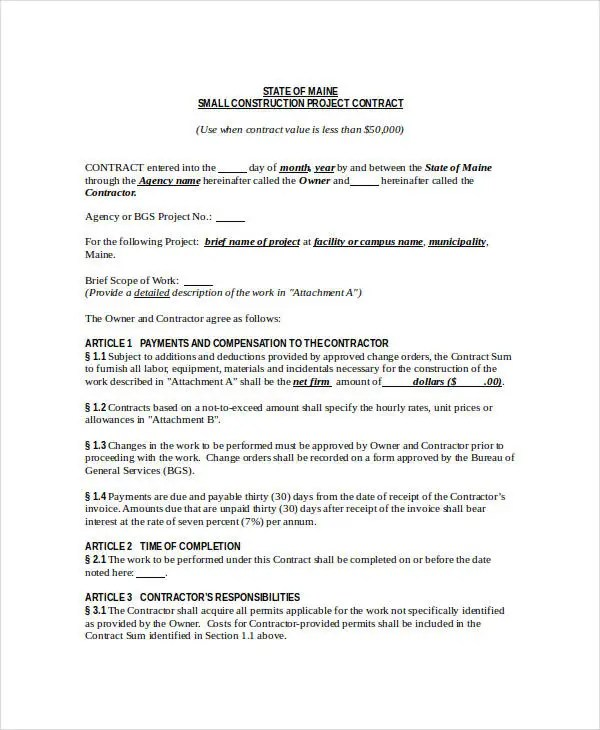 Construction Contract Template - 12+ Free Word, PDF Documents - contract for construction work template