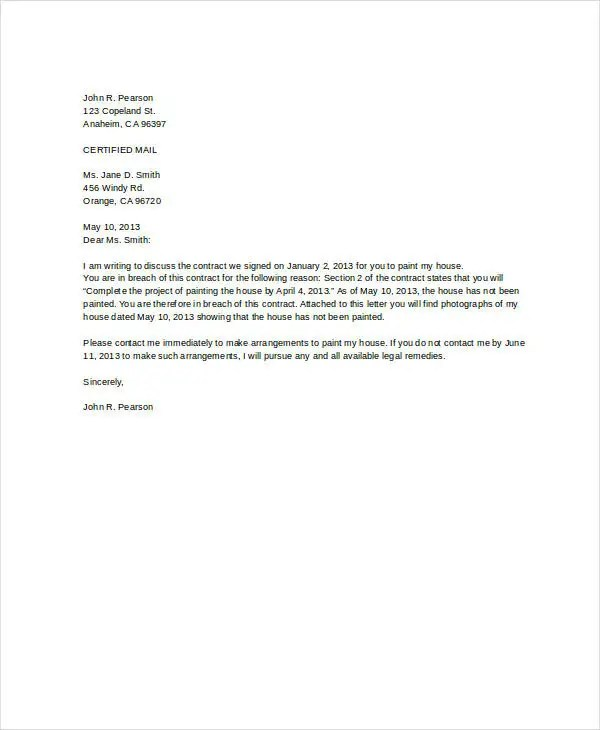 Breach Of Contract Letter Sample Sample Letters Letter Of Termination Template 8 Free Sample Example