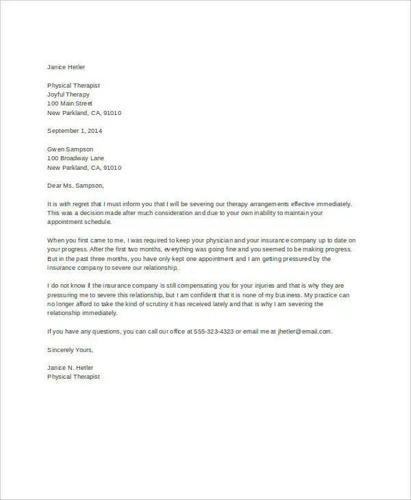 Letter of Termination Template - 8+ Free Sample, Example, Format - sample termination letters