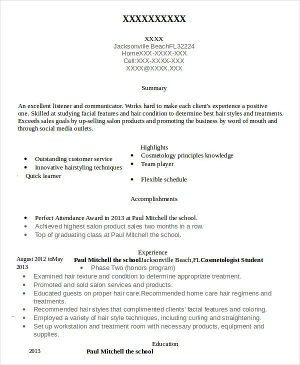 Cosmetology Resume - 5 Free Word, PDF Documents Download Free - cosmetologist resume sample