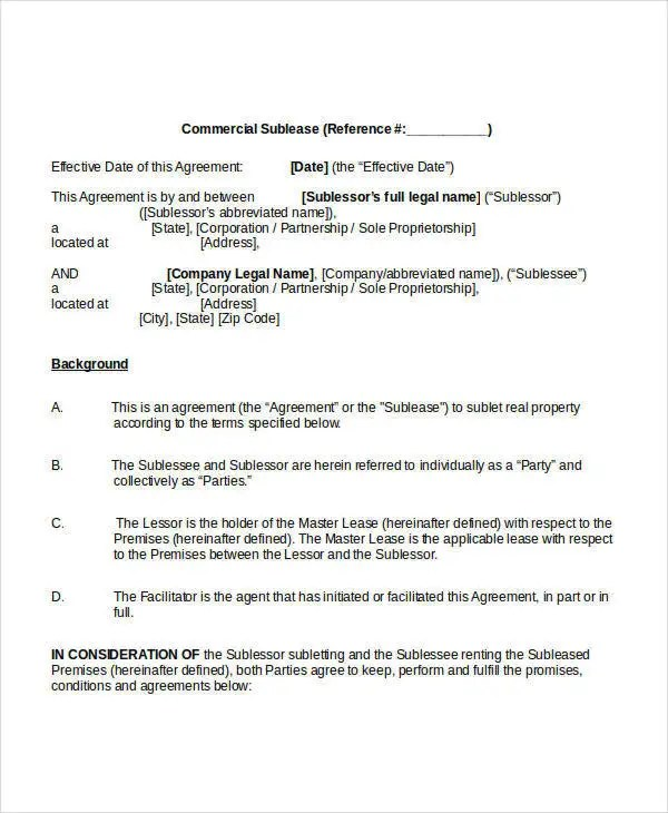 Sublease Agreement Template - 10+ Free Word, PDF Documents Download