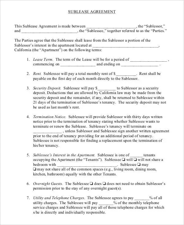 Sublease Agreement Template - 10+ Free Word, PDF Documents - sublease agreement