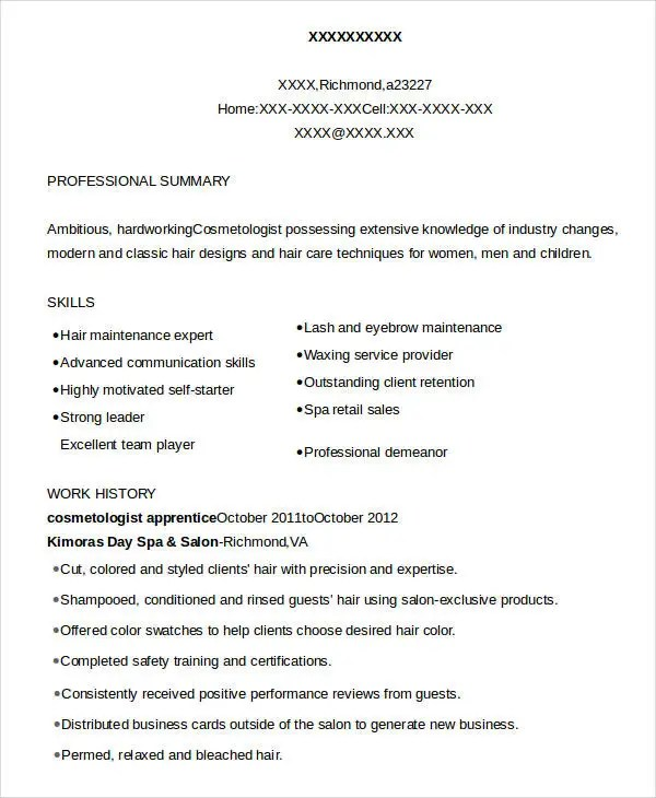 Cosmetology Resume - 5 Free Word, PDF Documents Download Free