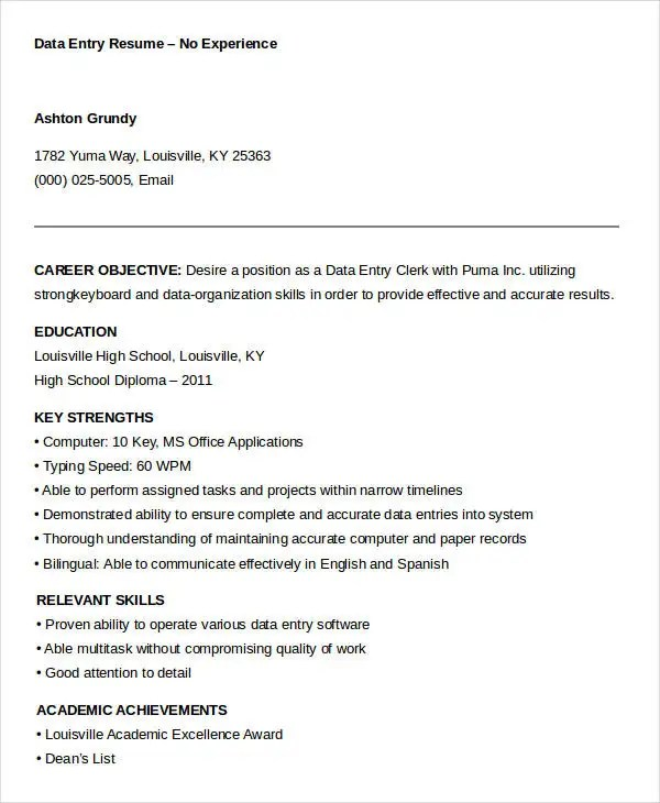 5+ Data Entry Resume Templates - PDF, DOC Free  Premium Templates