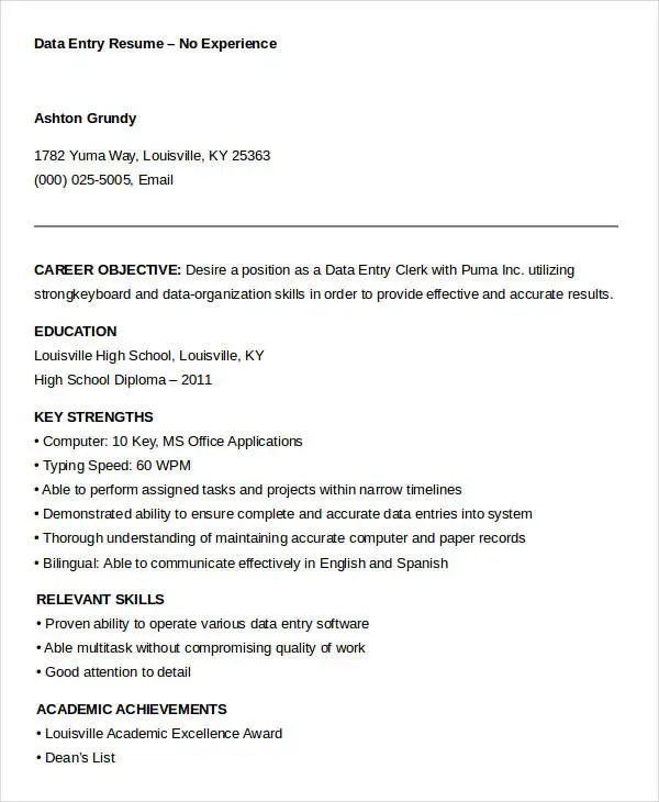 example of a resume with no work experience
