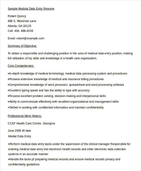 5+ Data Entry Resume Templates - PDF, DOC Free  Premium Templates