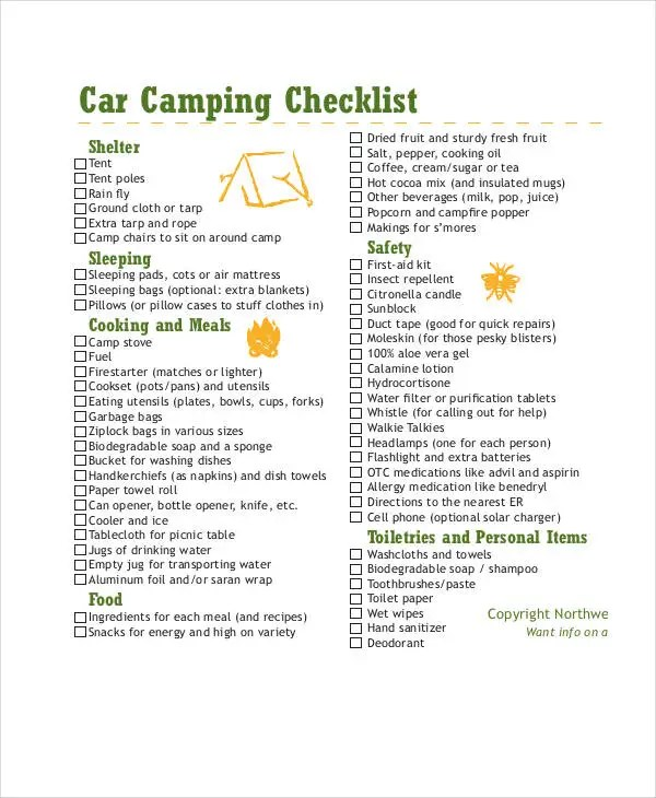 11+ Simple Camping Checklists - PDF, Word Free  Premium Templates