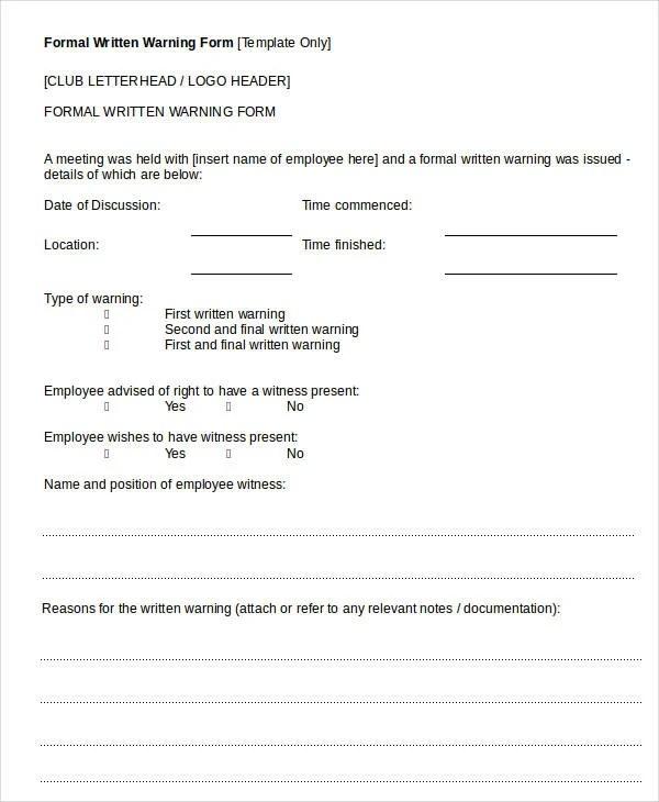 11+ Printable Written Warning Templates - PDF, DOC Free  Premium - employee warning form