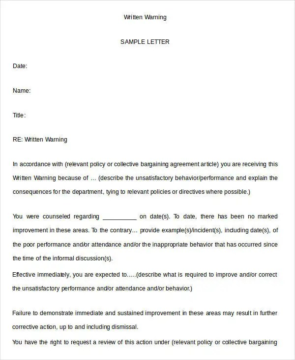 written warning samples - Doritmercatodos - writing warning letter for employee conduct