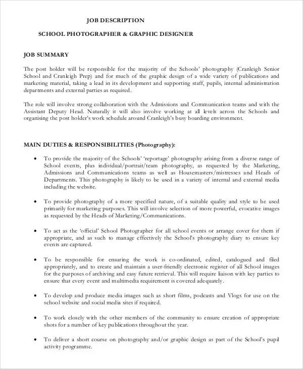 10+ Photographer Job Description Templates - PDF, DOC Free