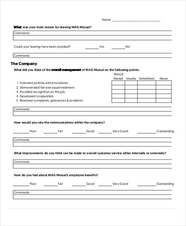 exit interview template form - Ozilalmanoof