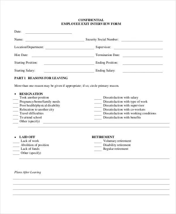employee exit interview form - Deanroutechoice - Exit Interview Form