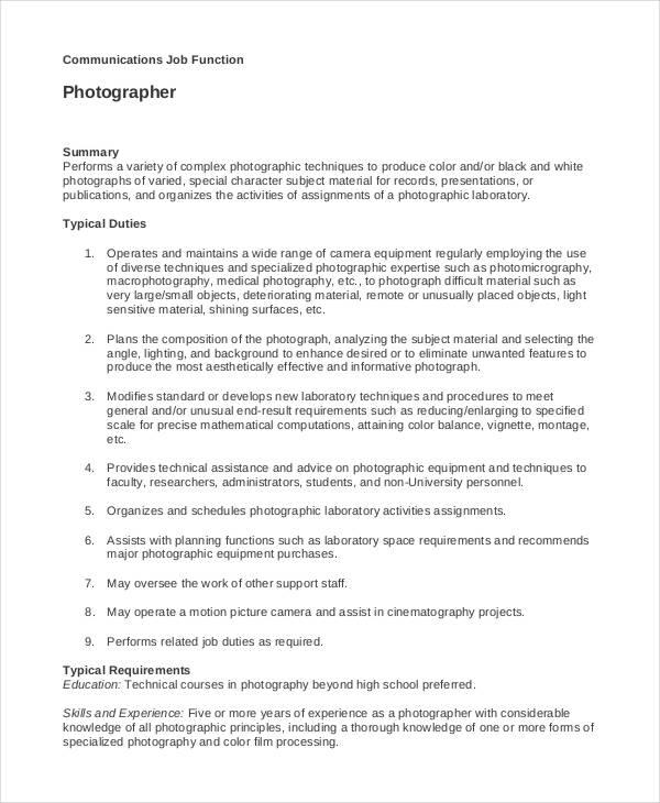 Photographer Job Description - 10+ Free Word, PDF Documents - photographer job description