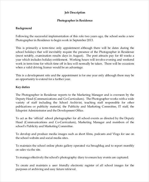 10+ Photographer Job Description Templates - PDF, DOC Free - photographer job description