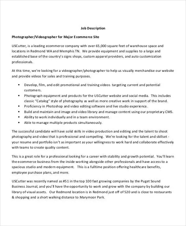 Video Editor Job Description E-Commerce Photographer Job - photographer job description