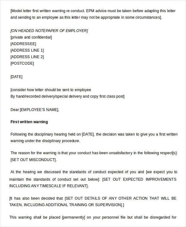 11+ Printable Written Warning Templates - PDF, DOC Free  Premium