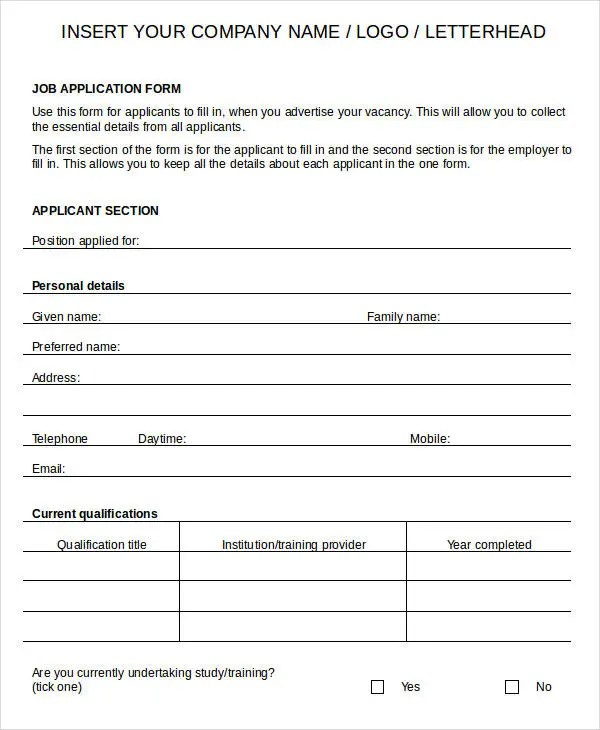 Pin by Anna Ho Croes on TMW Aplicacion pa trabao Pinterest - blank employment application