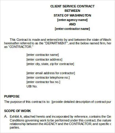 Service Contract Templates - 18+ Free Word, PDF Documents Download - service contract in word