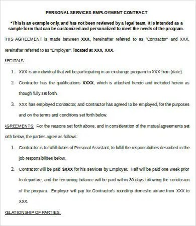 Service Contract Templates - 18+ Free Word, PDF Documents Download - personal service contract