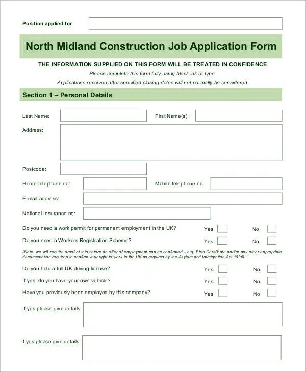 Blank Job Application - 8+ Free Word, PDF Documents Download Free