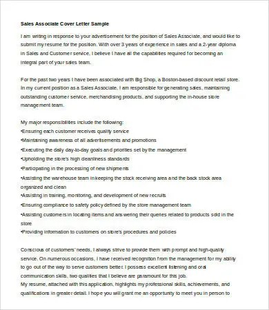 Sales Cover Letter - 9+ Free Word, PDF Documents Download Free - sales associate cover letter