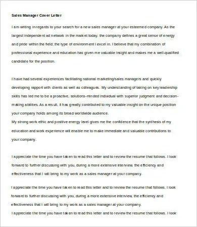 Sales Cover Letter - 9+ Free Word, PDF Documents Download Free