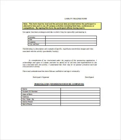 Liability Release Form - 10+ Free Sample, Example, Format Free - free release of liability form