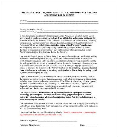 Liability Release Form - 10+ Free Sample, Example, Format Free - liability release template