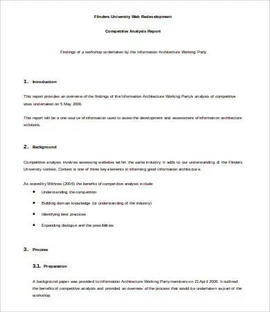 Competitive Analysis Template - 6+ Free Sample, Example, Format - sample competitive analysis 2