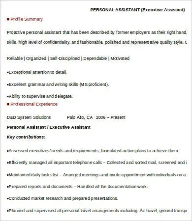 Personal Assistant Resume - 4 Free Word, PDF Documents Download