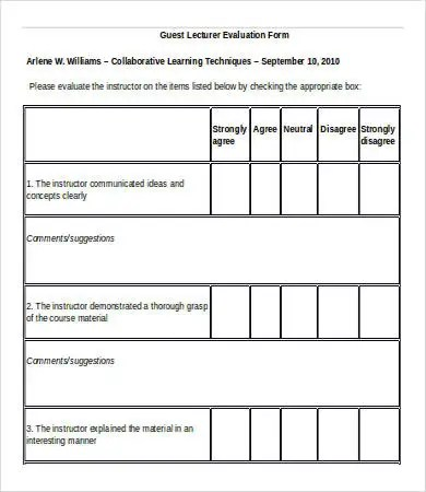 Lecture Evaluation Form lectures tab and lecture evaluations in - instructor evaluation form