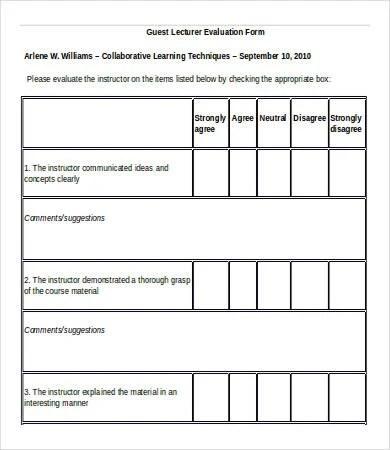 10+ Teacher Evaluation Forms - PDF, DOC Free  Premium Templates - lecture evaluation form