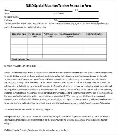 10+ Teacher Evaluation Forms - PDF, DOC Free  Premium Templates