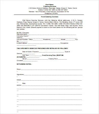 13+ Contract Templates for Catering - Free PDF, DOC Format - catering contract template