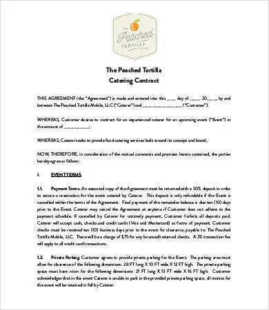 12+ Catering Contract Form Templates Free Word, PDF, Doc Samples