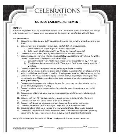 Catering Contract - 13+ Free PDF, Word Documents Download Free - catering contract template