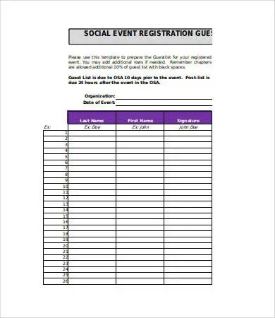 Guest List Template - 9+ Free Word, PDF, Excel Documents Download - guest list sample