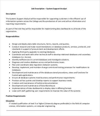 10+ System Analyst Job Description Templates - PDF, DOC Free - analyst job description