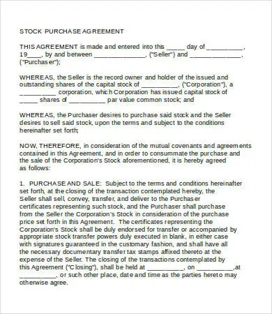 Purchase Agreement - 15+ Free Word, PDF Documents Download Free - stock purchase agreement