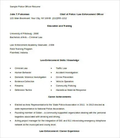 6+ Police Officer Resume Templates - PDF, DOC Free  Premium Templates - resume police officer