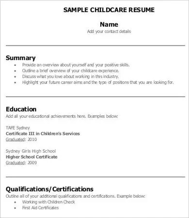 8+ Child Care Resume Templates - PDF, DOC Free  Premium Templates - Child Caregiver Resume