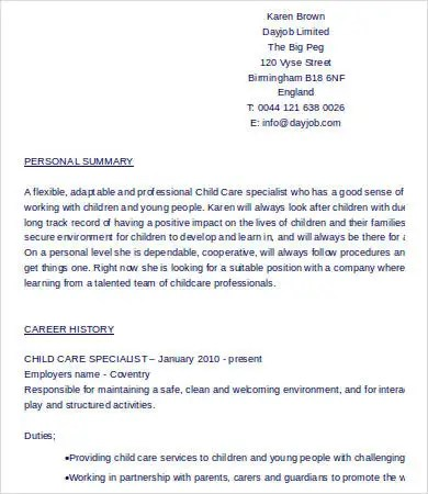 8+ Child Care Resume Templates - PDF, DOC Free  Premium Templates - Child Care Resume